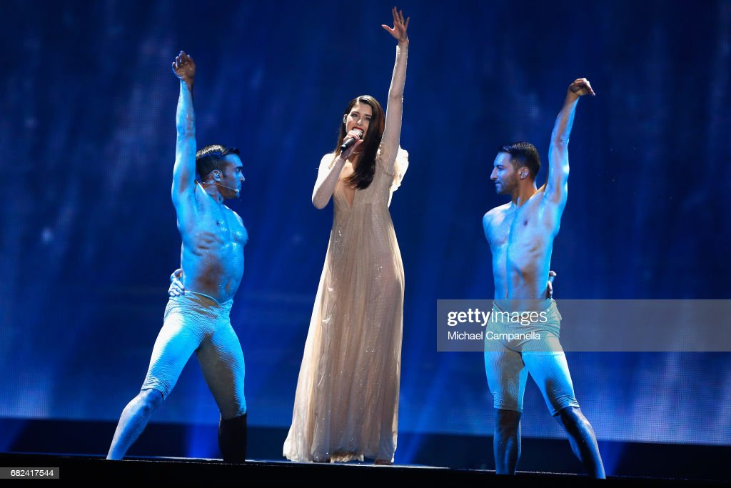 Singer Demy, representing Greece, performs the song 'This Is Love' during the rehearsal for ''The final of this year's Eurovision Song Contest'' at International Exhibition Centre (IEC) on May 12, 2017 in Kiev, Ukraine. The final of this years Eurovision Song Contest will be aired on May 13, 2017.