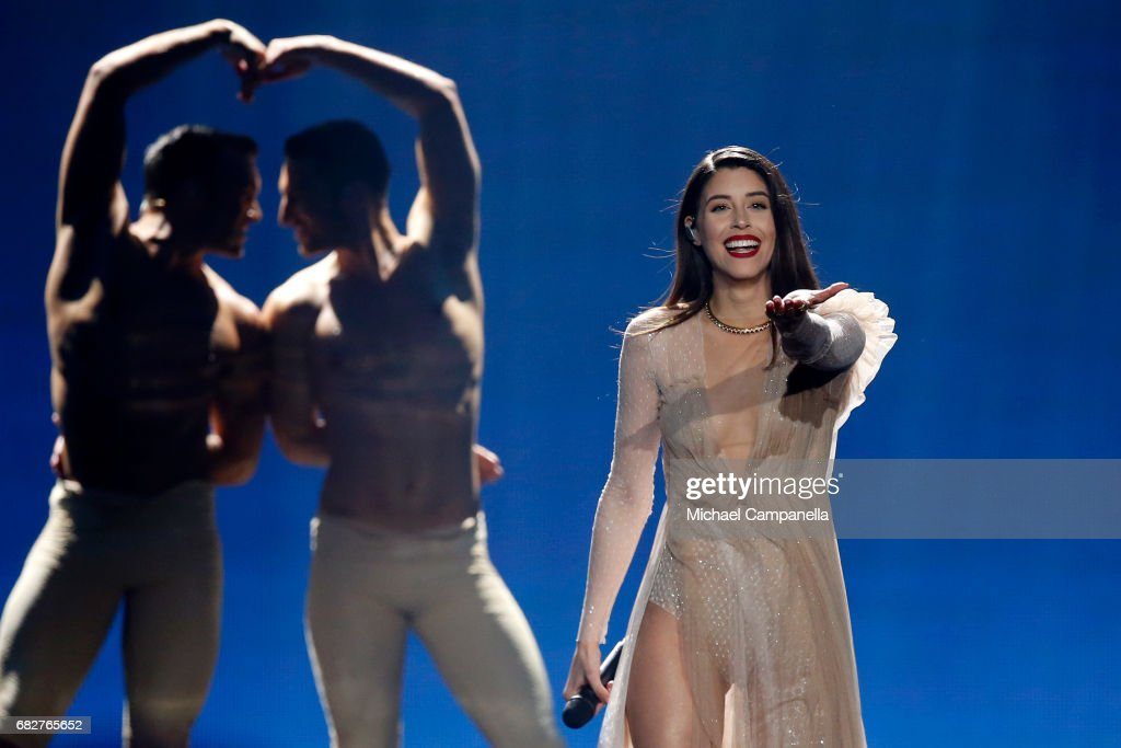 Singer Demy, representing Greece, performs the song 'This Is Love' during the final of the 62nd Eurovision Song Contest at International Exhibition Centre (IEC) on May 13, 2017 in Kiev, Ukraine.