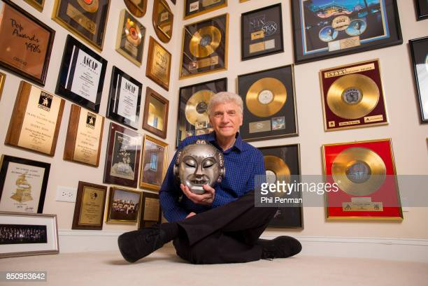 Singer Dennis DeYoung is photographed for Closer Weekly Magazine on April 26 2016 at home in Illinois DeYoung poses with his Mr Roboto mask and gold...