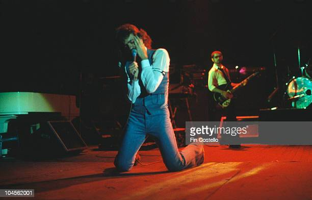 Singer Dennis DeYoung of American rock group Styx performing on stage circa 1976 On the right is bassist Chuck Panozzo