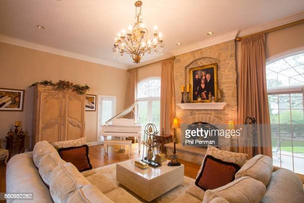 Singer Dennis DeYoung's home is photographed for Closer Weekly Magazine on April 26 2016 in Illinois The portrait above the mantelpiece in the family...
