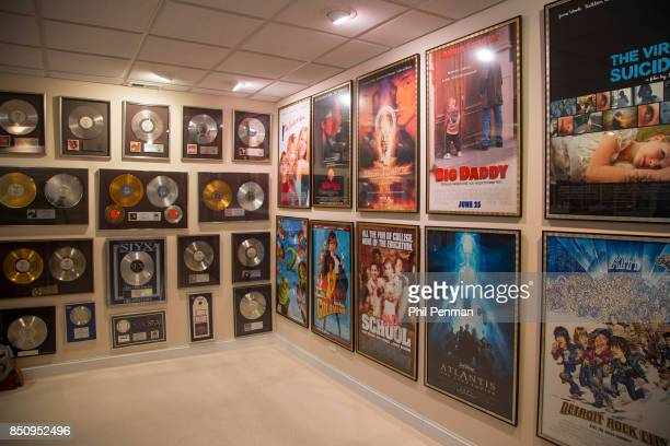 Singer Dennis DeYoung's home is photographed for Closer Weekly Magazine on April 26 2016 in Illinois DeYoung's records and memorabilia in what he...