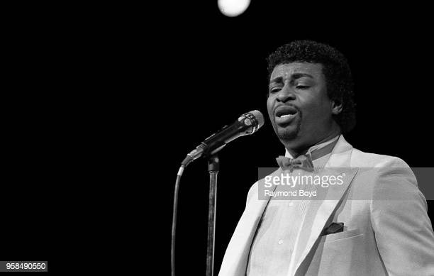 Singer Dennis Edwards performs at The Holiday Star Theatre in Merrillville, Indiana in January 1984.