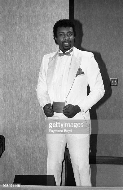 Singer Dennis Edwards poses for photos backstage at The Holiday Star Theatre in Merrillville, Indiana in January 1984.