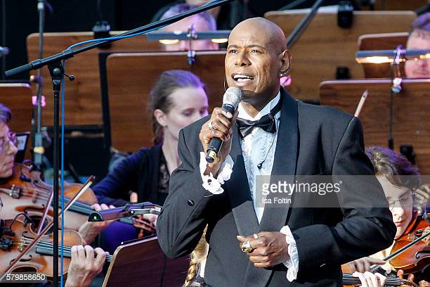 Singer Dennis LeGree performs during the James Bond Soundtrack Night at Thurn Taxis Castle Festival 2016 on July 24 2016 in Regensburg Germany