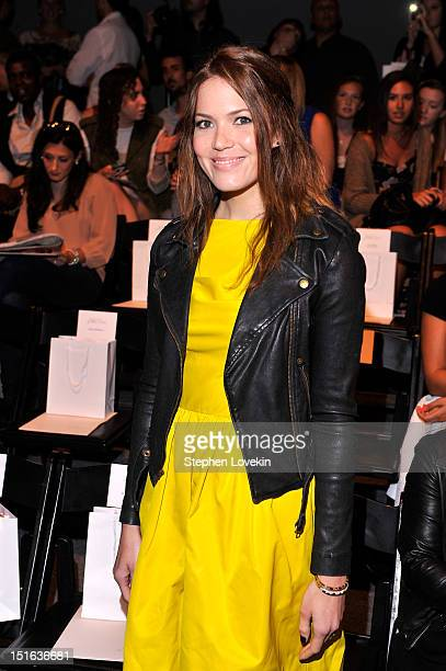 Singer designer Mandy Moore attends the Lela Rose Spring 2013 fashion show during MercedesBenz Fashion Week at The Studio at Lincoln Center on...
