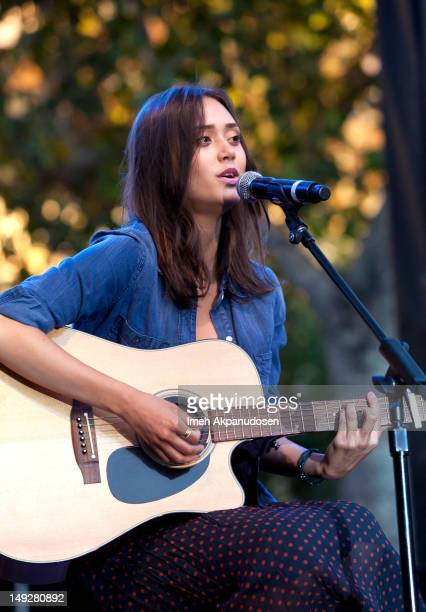 Singer Dia Frampton of NBC's 'The Voice' performs at the Summer Concert Series at The Grove on July 25 2012 in Los Angeles California