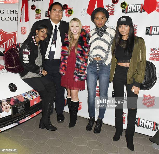 singer Diamond White Anthony Begonia Alice Aoki actress Sierra McClain and guest attend The Salvation Army hosts #RockTheRedKettle Concert at...