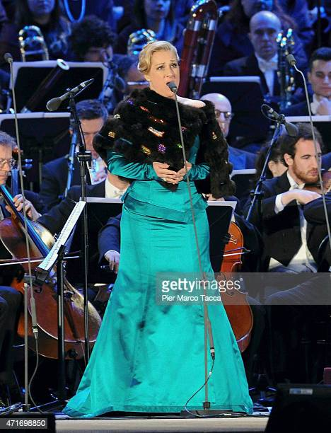 Singer Diana Damrau performs during the Opening Event Expo 2015 at Piazza Duomo on April 30 2015 in Milan Italy