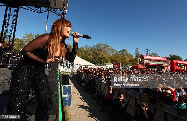 Singer Diana Reyes and band at the Latin GRAMMY Street Parties Chicago 2012 at Plaza Garibaldi on September 30 2012 in Chicago Illinois
