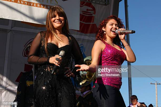 Singer Diana Reyes and Paloma Carrasco at the Latin GRAMMY Street Parties Chicago 2012 at Plaza Garibaldi on September 30 2012 in Chicago Illinois
