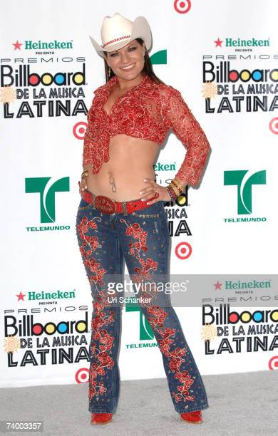 Singer Diana Reyes poses in the press room at the 2007 Billboard Latin Music Awards at the Bank United Center April 26 2007 in Coral Gables Florida