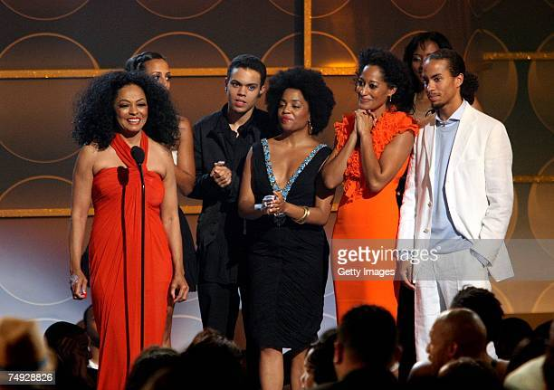 Singer Diana Ross accepts the Lifetime Achievement Award which was presented to her by her children Chudney Ross Evan Ross Rhonda Ross Tracee Ellis...
