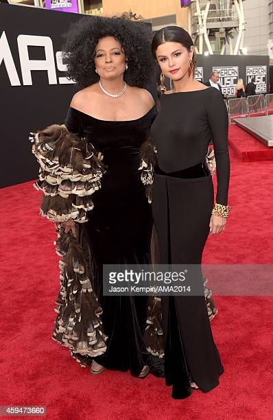 Singer Diana Ross and actress Selena Gomez attend the 2014 American Music Award at Nokia Theatre LA Live on November 23 2014 in Los Angeles California