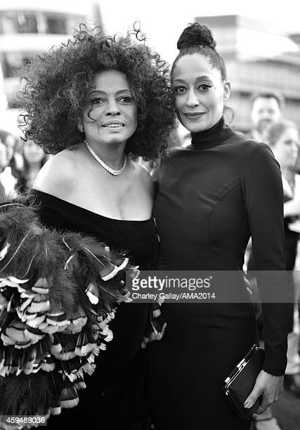 Singer Diana Ross and actress Tracee Ellis Ross attend the 2014 American Music Awards at Nokia Theatre LA Live on November 23 2014 in Los Angeles...
