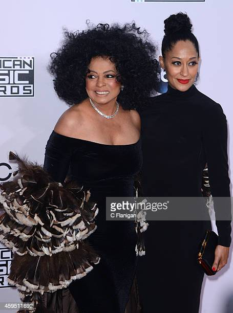 Singer Diana Ross and actress Tracee Ellis Ross attend the 42nd Annual American Music Awards at Nokia Theatre LA Live on November 23 2014 in Los...