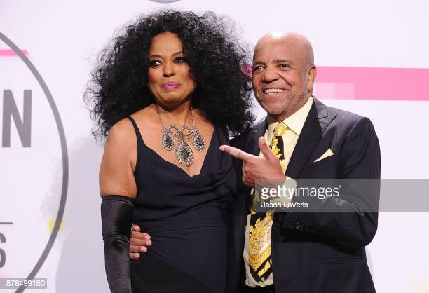Singer Diana Ross and Berry Gordy pose in the press room at the 2017 American Music Awards at Microsoft Theater on November 19 2017 in Los Angeles...