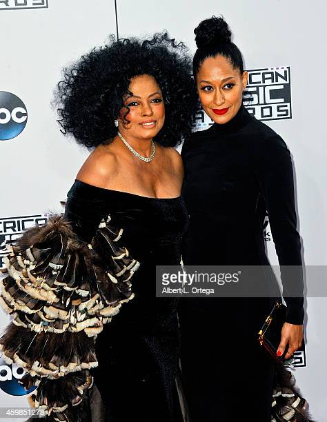 Singer Diana Ross and daughter/actress Tracee Ellis Ross arrive for the 42nd Annual American Music Awards held at Nokia Theatre LA Live on November...