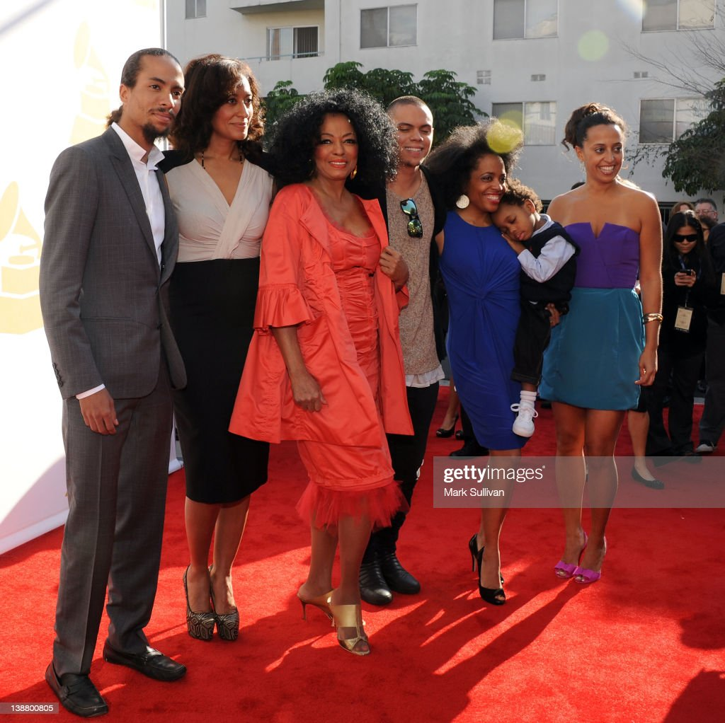 Singer Diana Ross (3rd from L) and family attend The 54th Annual GRAMMY Awards - Special Merit Awards Ceremony at The Wilshire Ebell Theatre on February 11, 2012 in Los Angeles, California.