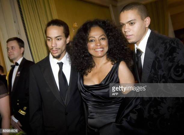 US singer Diana Ross and her sons Ross Arne Naess and Evan arrive for the Norwegian Nobel Committee's Banquet at the Grand Hotel in Oslo on December...