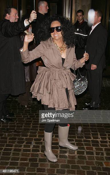 Singer Diana Ross arrives at the Iron Man Screening Hosted by The Cinema Society and Michael Kors at the Tribeca Grand Screening Room on April 28...