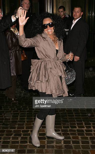 Singer Diana Ross arrives at the 'Iron Man' Screening Hosted by The Cinema Society and Michael Kors at the Tribeca Grand Screening Room on April 28...