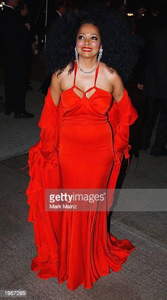 Singer Diana Ross arrives for 'Goddess Costume Institute Benefit Gala' at the Metropolitan Museum of Art Costume April 28 2003 in New York City