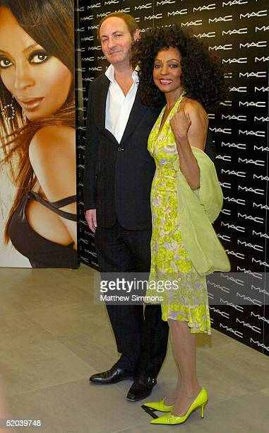 """Singer Diana Ross stands with John Demsey, Global President of MAC Cosmetics, as they attend the launch of her new """"MAC Beauty Icon Series 2..."""