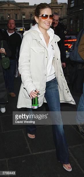 Singer Dido leaves the Balmoral Hotel November 5, 2003 in Edinburgh, Scotland.
