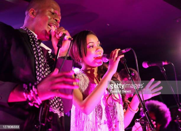 Singer Dionne Bromfield performs with The Knights Before the former backing band of Amy Winehouse during the third night of parties launching Mark...