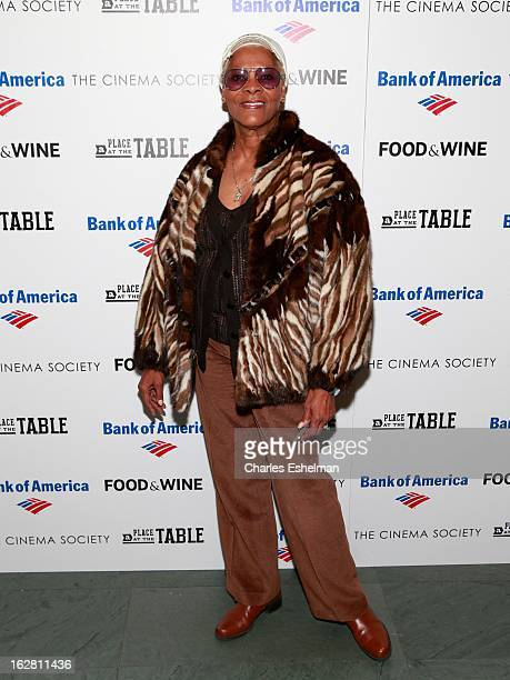 Singer Dionne Warwick arrives at Bank of America and Food Wine with The Cinema Society present a screening of 'A Place at the Table' at the Celeste...