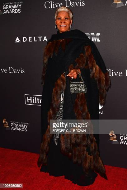 US singer Dionne Warwick arrives for the traditional Clive Davis party on the eve of the 61th Annual Grammy Awards at the Beverly Hilton hotel in...