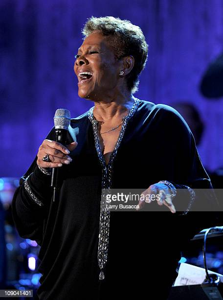 Singer Dionne Warwick performs onstage at the 2011 PreGRAMMY Gala and Salute To Industry Icons Honoring David Geffen at Beverly Hilton on February 12...