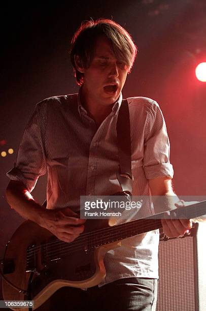 Singer Dirk von Lowtzow from German band Tocotronic performs live during a concert at the C-Halle on October 29, 2010 in Berlin, Germany.