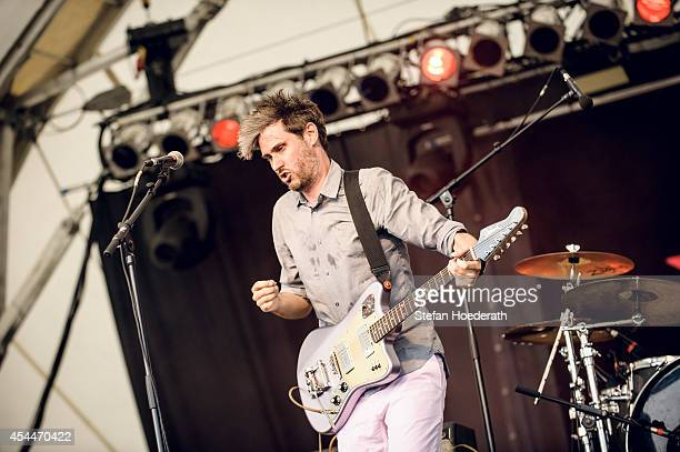 Singer Dirk von Lowtzow of German band Tocotronic performs live on stage during day 3 of the Greenville Festival on July 28, 2013 in Paaren im Glien...