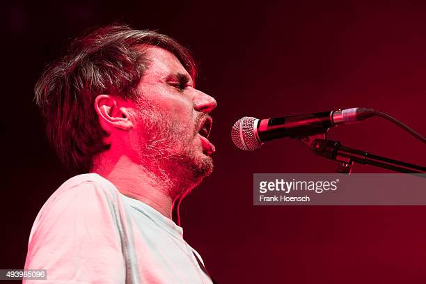 Singer Dirk von Lowtzow of the German band Tocotronic performs live during a concert at the Columbiahalle on October 23 2015 in Berlin Germany