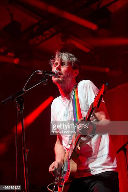 Singer Dirk von Lowtzow of the German band Tocotronic performs live during a concert at the Columbiahalle on October 23, 2015 in Berlin, Germany.