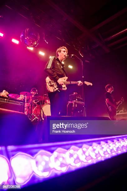 Singer Dirk von Lowtzow of the German band Tocotronic performs live on stage during a concert at the Columbiahalle on April 16 2018 in Berlin Germany