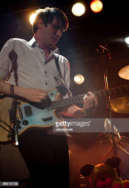 Singer Dirk von Lowtzow of the German rock band Tocotronic performs live during a concert at the Astra Kulturhaus on April 17 2010 in Berlin Germany...