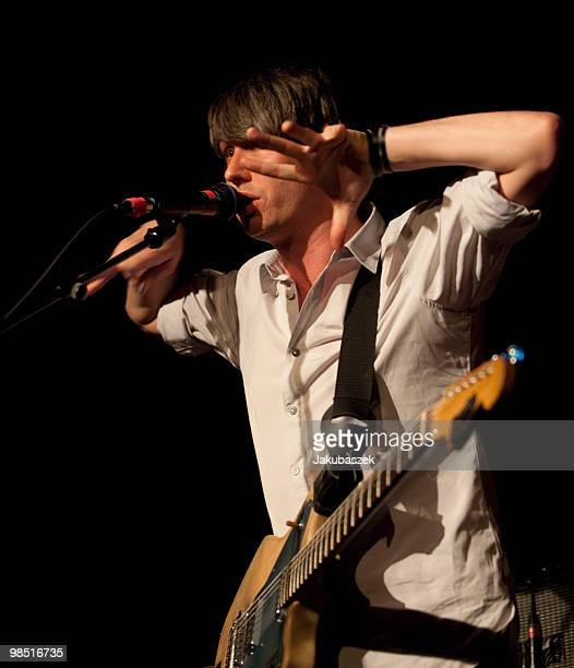 Singer Dirk von Lowtzow of the German rock band Tocotronic performs live during a concert at the Astra Kulturhaus on April 17, 2010 in Berlin,...