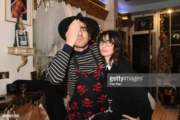 Singer DJ Nicolas Ullmann and Zelia Van den Bulke attend Zelia Van Den Bulke Aprons show At Zelia Abbesses Shop on May 1, 2018 in Paris, France.