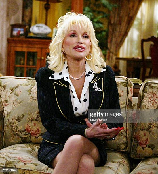 Singer Dolly Parton appears on the set of The WB's Reba at 20th Century Fox Studios on February 15 2005 in Los Angeles California