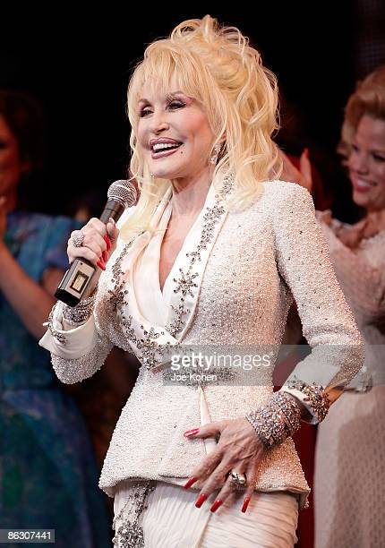 Singer Dolly Parton on stage during curtain call at the opening of 9 to 5 The Musical on Broadway at the Marriott Marquis Theatre on April 30 2009 in...