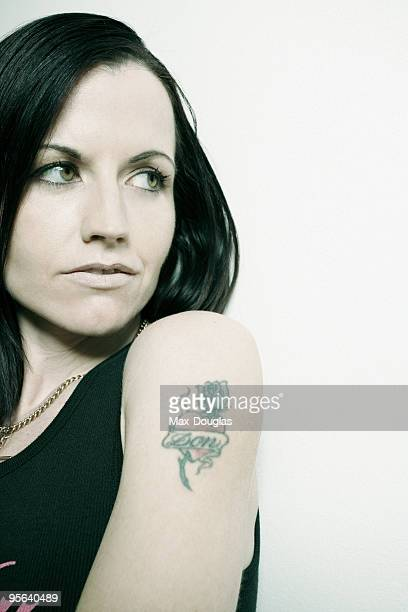 Singer Dolores O'Riordan of The Cranberries band poses for a portrait shoot in Milan on March 14 2007