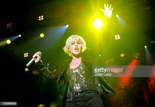 Singer Dolores O'Riordan of the Irish rock band 'The Cranberries' performs at the Sant Jordi Club in Barcelona on October 4 2012 AFP PHOTO / JOSEP...