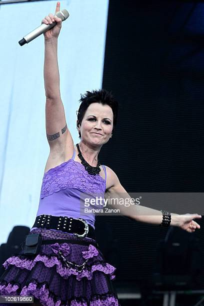 Singer Dolores O'Riordan performs on stage during the first day of the 4 days Heineken Jammin Festival on July 3 2010 in Mestre Italy