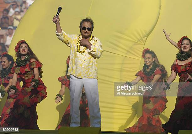 Singer Don Ho performs during the 2005 Pro Bowl game at Aloha Stadium Honolulu February 13 2005