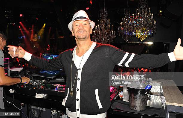 Singer Donnie Wahlberg of New Kids on the Block performs at the New Kids on the Block official after party at Chateau Nightclub & Gardens at Paris...
