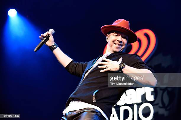 Singer Donnie Wahlberg of New Kids On The Block performs on stage during the iHeart80s Party 2017 at SAP Center on January 28 2017 in San Jose...