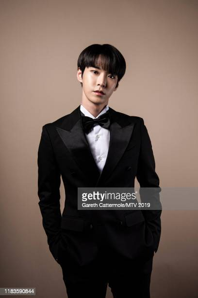Singer Doyoung of boy band NCT 127 pose for a portrait at the MTV EMAs 2019 studio at FIBES Conference and Exhibition Centre on November 3 2019 in...